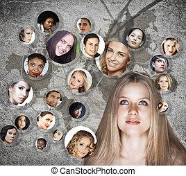 social, kvinna, nätverk, ung