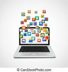 social, laptop., réseau, nuage, icônes