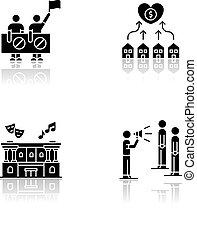 Social life drop shadow black glyph icons set