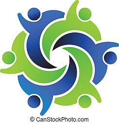 social, logo, amis, conception, 6