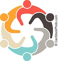 social, logo., gens, réunion, 6