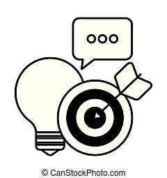 social, lumière, commercialisation, icônes, ampoule, média