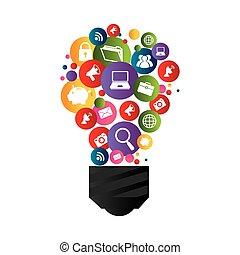 social, lumière, média, ampoule, icônes