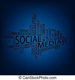 social, média, étiquette, nuage