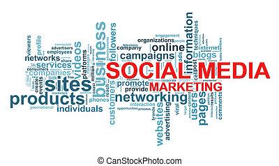 social, média, étiquettes, mot, commercialisation