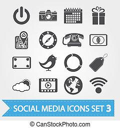 social, média, 3, ensemble, icônes