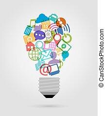 social, média, ampoule, icônes