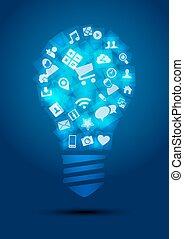 social, média, ampoule, lumière, idée, concept