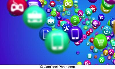 social, média, balles, lignes, nouvelles