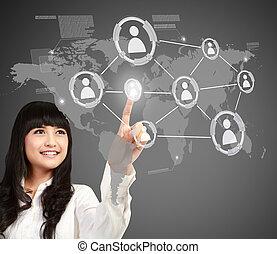 social, média, bouton, urgent, femme affaires