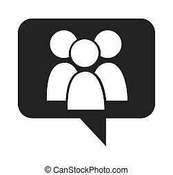social, média, bulle discours, icône