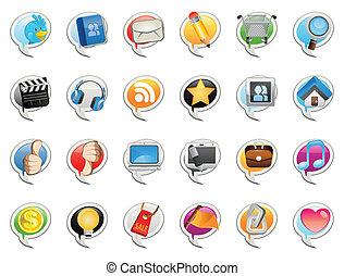 social, média, bulle, icône