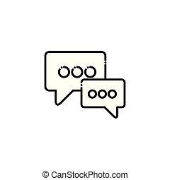 social, média, bulle, vecteur, conception, icône, isolé