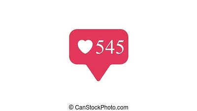 social, média, coeur, aller, compteur, bouton, haut.