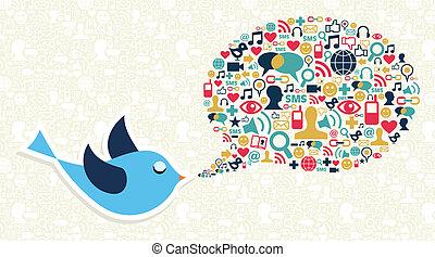 social, média, commercialisation, gazouillement, oiseau, concept