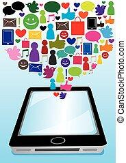 social, média, communication