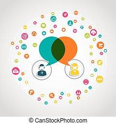 social, média, communication, concept