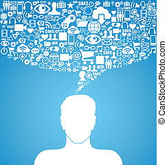 social, média, communication, homme