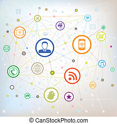 social, média, concept