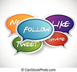 social, média, concept, communication