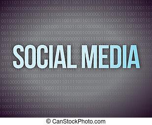 social, média, concept, dans, a, noir