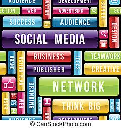 social, média, concept, modèle