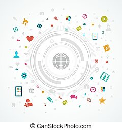 social, média, concept, mondiale