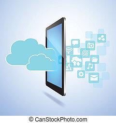 social, média, concept, nuage, calculer