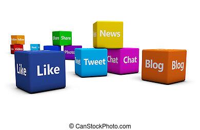 social, média, concept, toile, signes