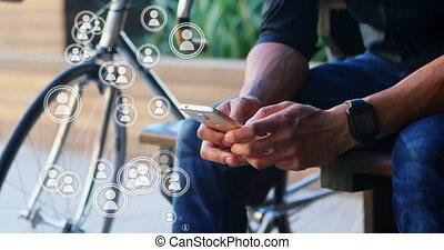 social, média, connexion, 4k