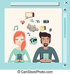 social, média, couple, smartphone, icônes