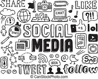 social, média, doodles, éléments
