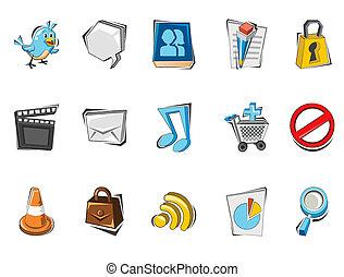 social, média, ensemble, doodled, icône