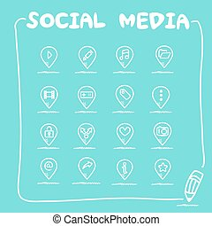 social, média, ensemble, icône