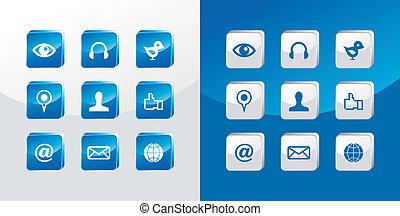 social, média, ensemble, icônes