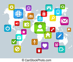 social, média, fond