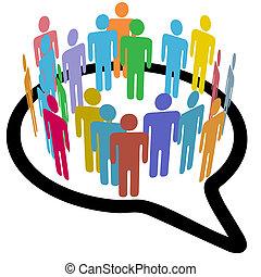 social, média, gens, intérieur, cercle, bulle discours