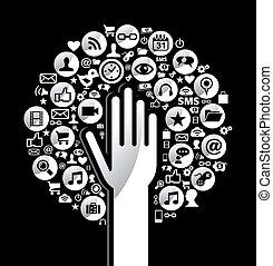 social, média, global, arbre, main