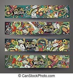social, média, hand-drawn, internet, doodles, dessin animé