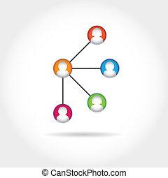 social, média, icône, groupe, élément