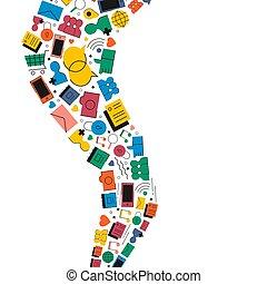 social, média, icône internet, forme, illustration