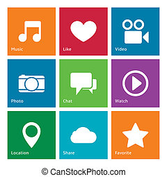 social, média, interface utilisateur, éléments