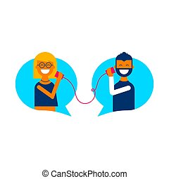 social, média, ligne, bavarder, conversation, concept
