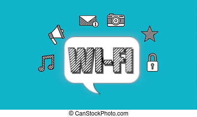 social, média, message, wifi, icônes