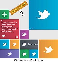 social, média, messages, gazouillement, retweet, icône, signe., métro, style, buttons., moderne, interface, site web, boutons, à, curseur, pointer., vecteur
