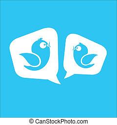social, média, messages