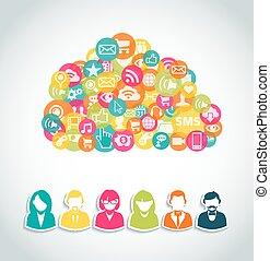 social, média, nuage, calculer, concept
