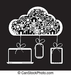 social, média, nuage