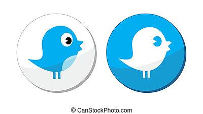 social, média, oiseau bleu, vecteur, étiquette