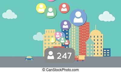 social, média, popularité, augmenter